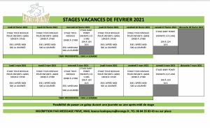 Stages vacances d'hivers 2021