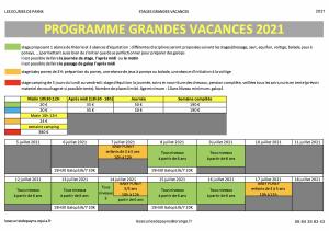 Stages grandes vacances 2021